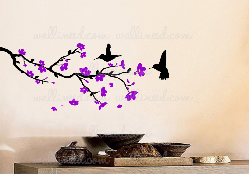 flowering branches with hummingbirds - wall decal