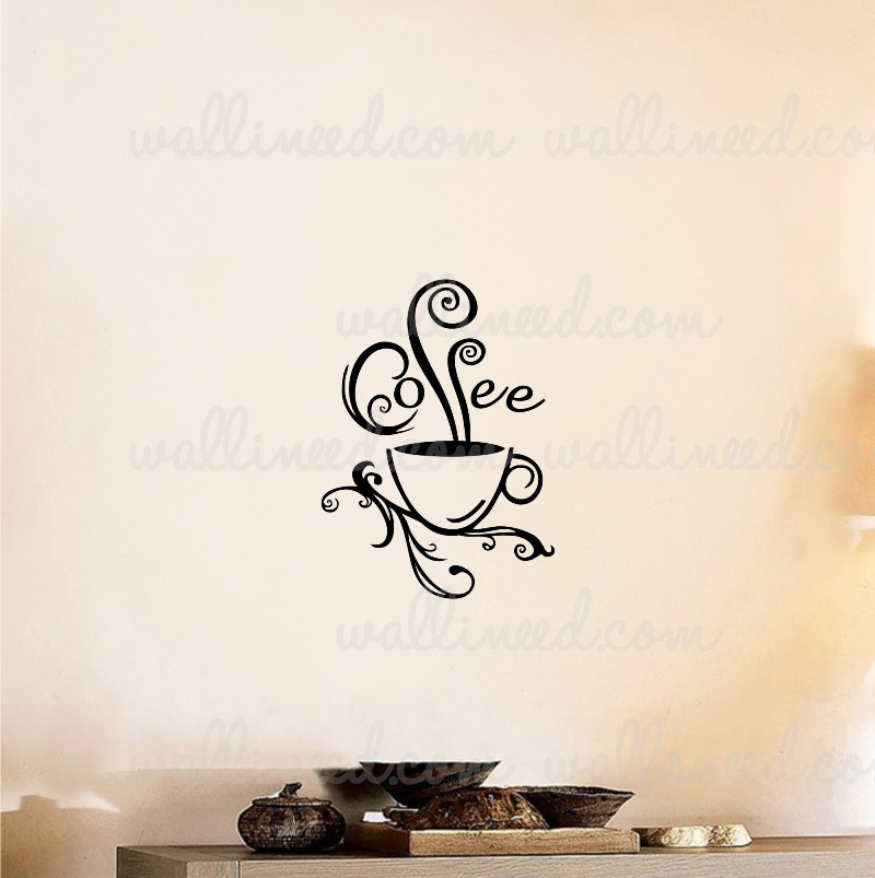 Coffee Cup Swirl Wall Decal Sticker Coffee Sticker
