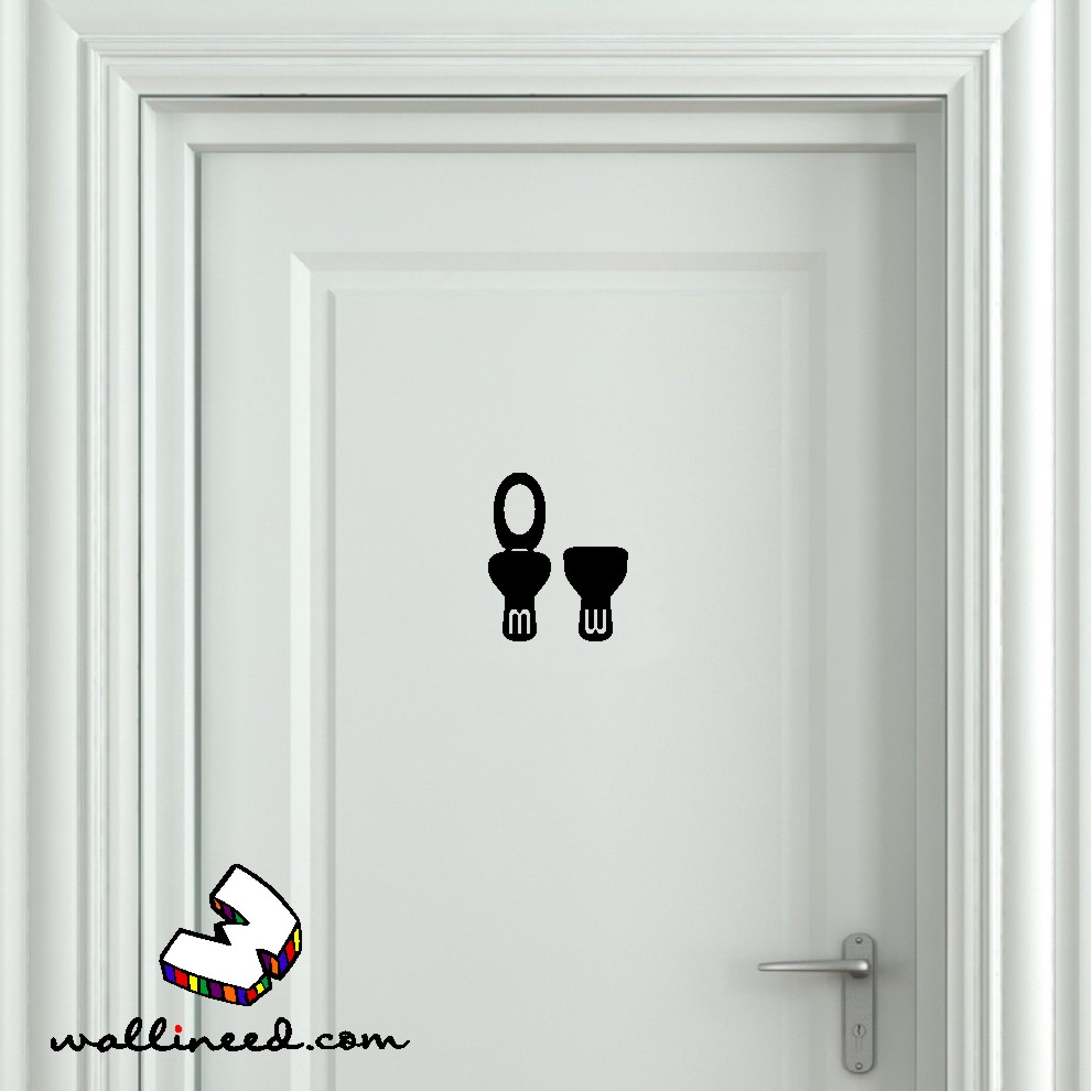 Toilet seat up and down bathroom door sticker for Door mural stickers
